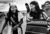 A happy Navajo Nation queen interacts with friends.