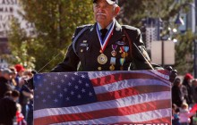 A proud veteran shows his colors during Reno's Veterans Day Parade