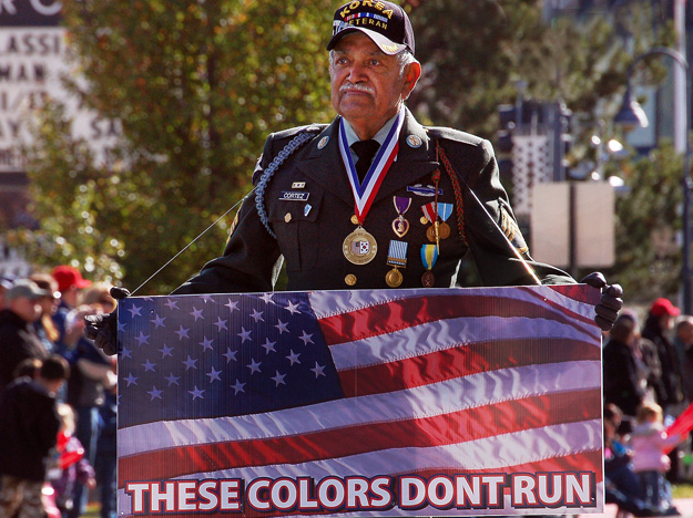 A proud veteran shows his colors during Reno's Veterans Day Parade.