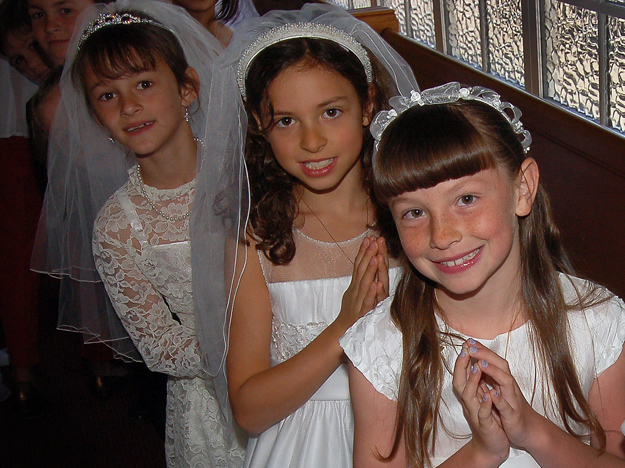 Getting ready for a First Communion ceremony
