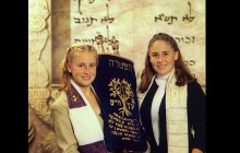 Two Sisters Pose before a Bat Mitzvah Ceremony