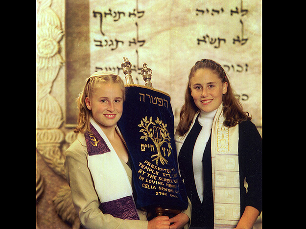 Two Sisters Pose before a Bat Mitzvah Ceremony.