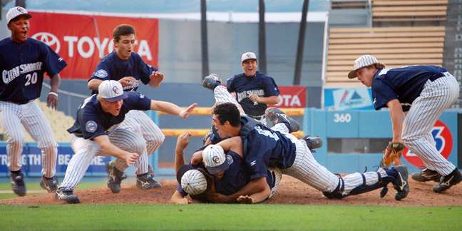2009 - Members of the Chatsworth, (CA) High baseball team celebrate their L.A. City baseball Championship win.