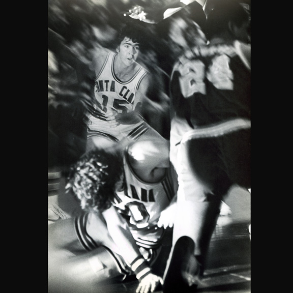 1979 - Santa Clara University basketball action, using a blurred and flash fill effect.
